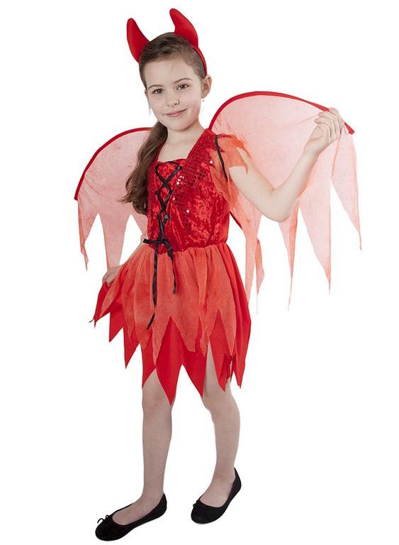 Dětský kostým čertice s křídly (M)