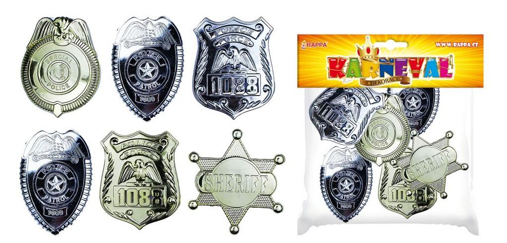 odznak policejní, 6 ks v sáčku