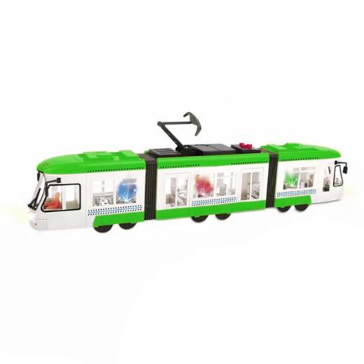tramvaj mluvící česky se zvukem a světlem zelená