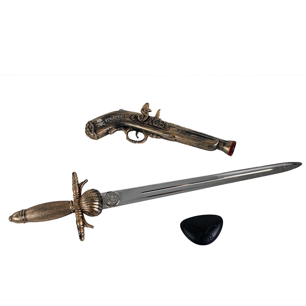 Sada pirátská pistol s mečem a klapkou na oko