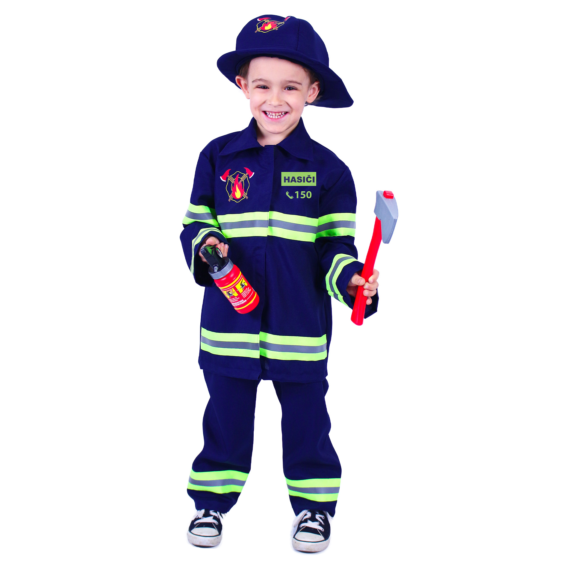 Dětský kostým hasič s českýn potiskem (M)
