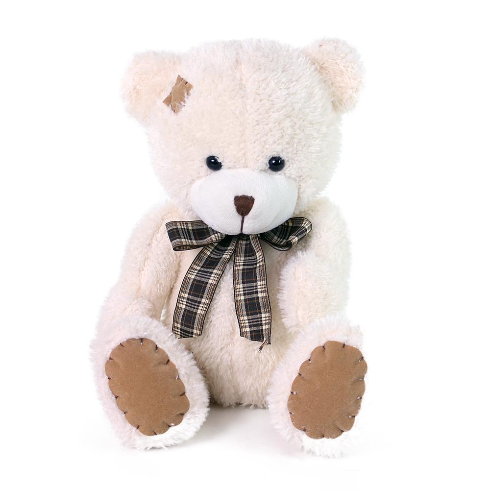 Plyšový medvěd s mašlí a záplatou 15 cm