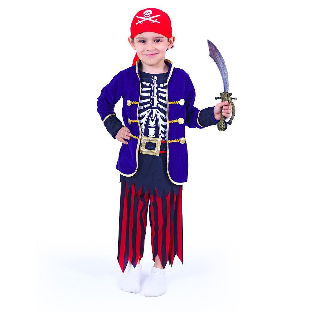 Dětský kostým pirát modrý s šátkem (M)