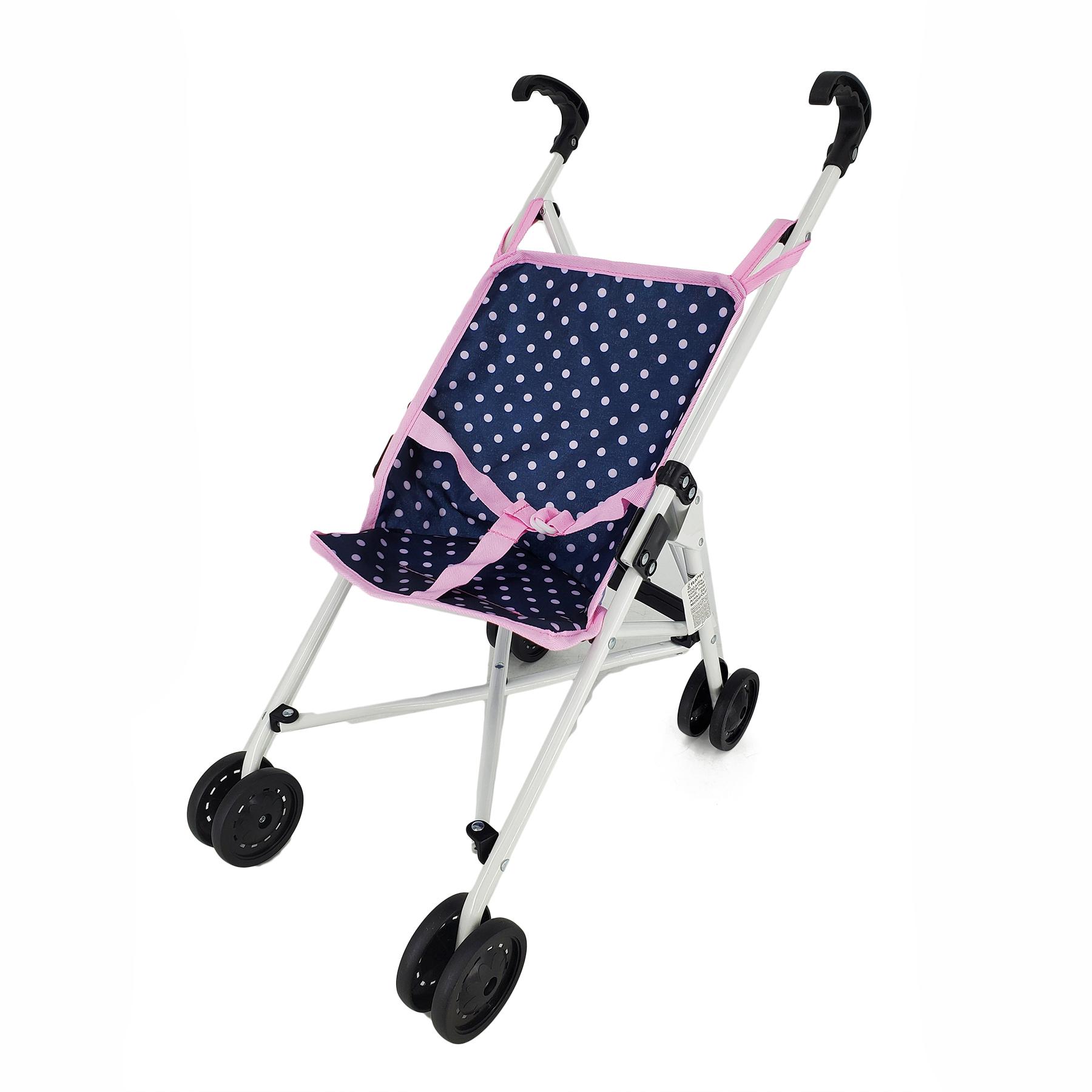 Golfový kočárek pro panenky modro/růžový s puntíky