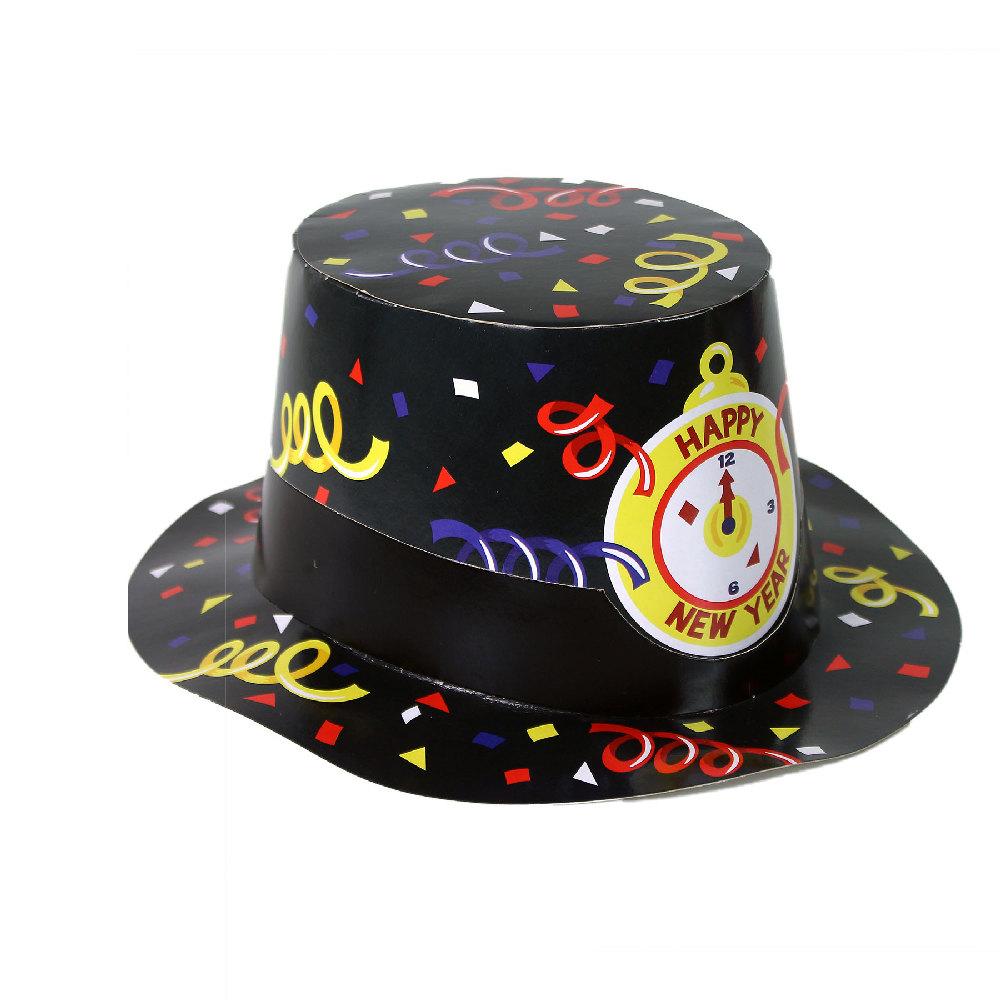 Papírový klobouk černý HAPPY NEW YEAR 12 ks v boxu