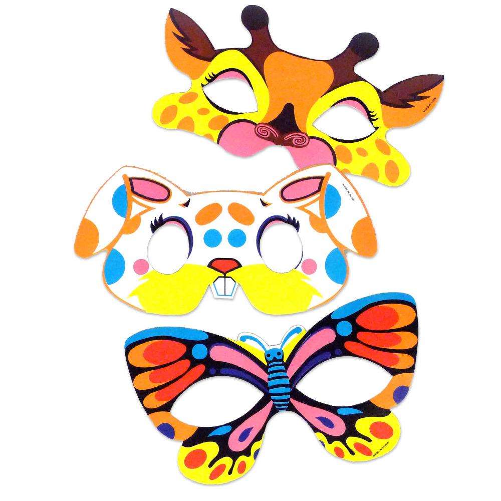 Maska papírová zvířátka 6 ks v sáčku