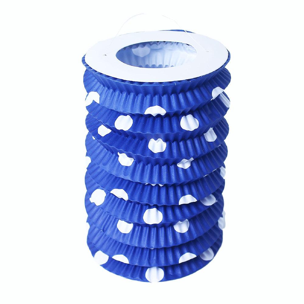 Lampion papírový modrý s tečkami 23 cm