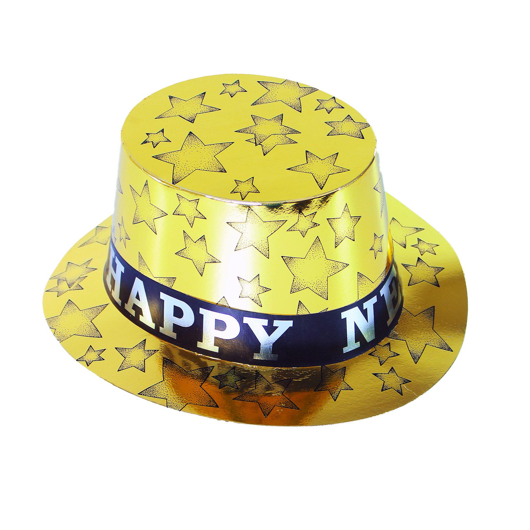 Papírový klobouk zlatý HAPPY NEW YEAR 12 ks v boxu