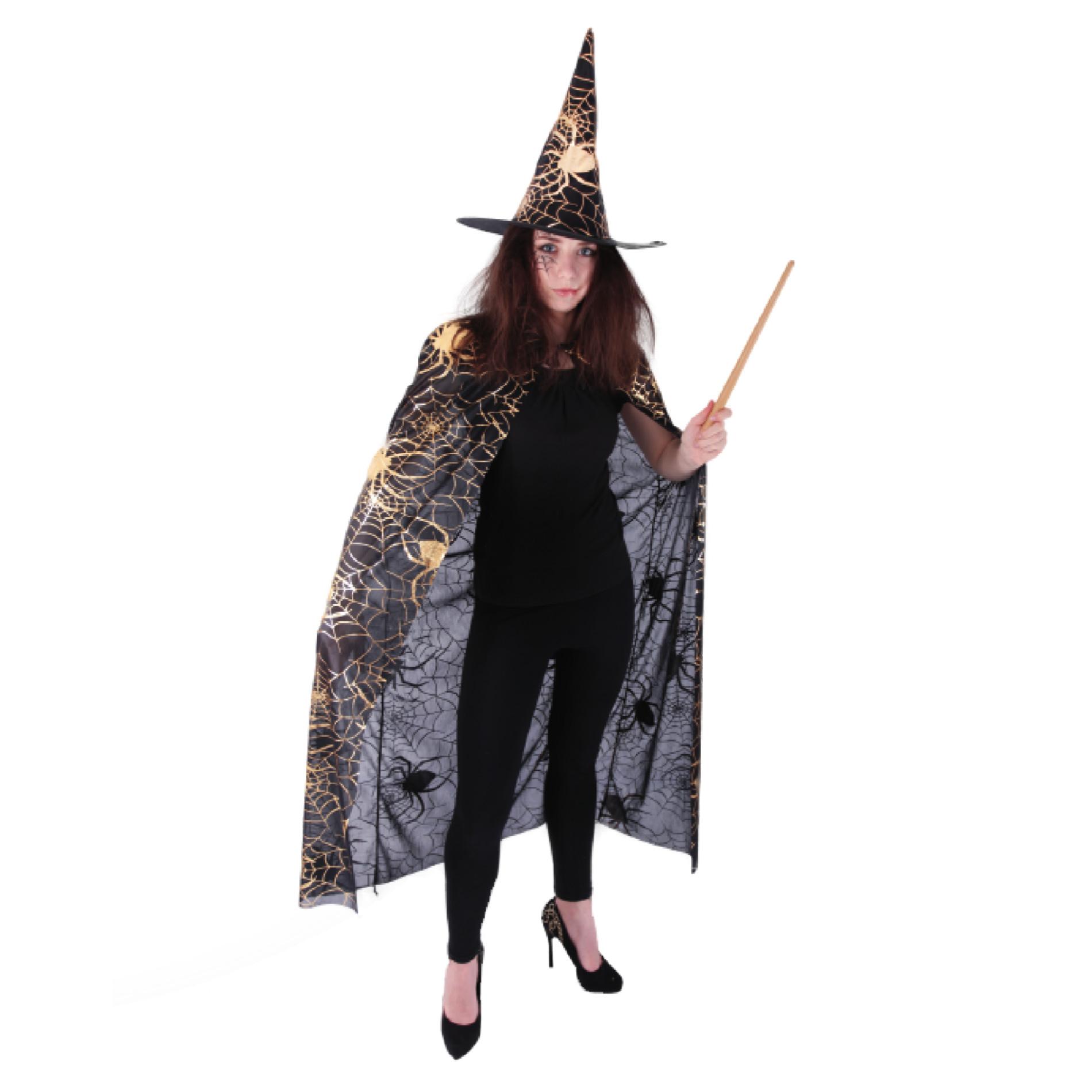Čarodějnický plášť s kloboukem a pavučinou pro dospělé/Halloween