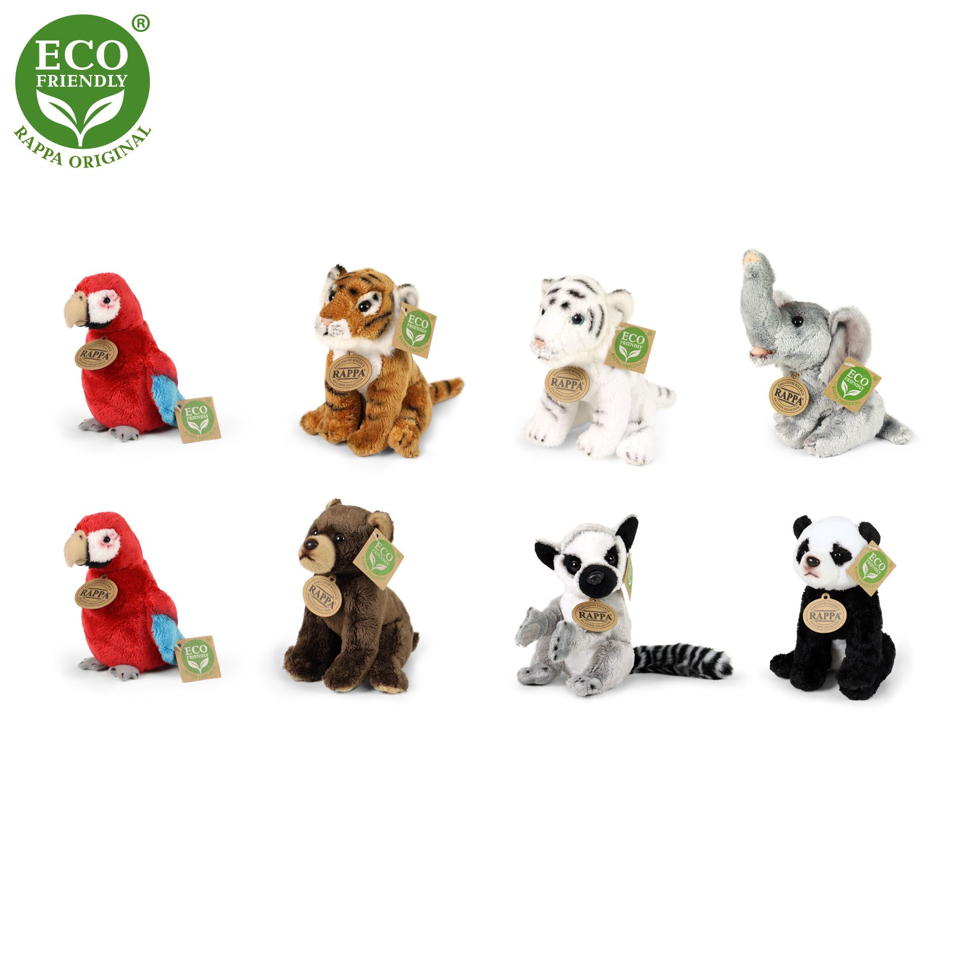 Plyšová zvířata exotická 8 druhů 15 cm ECO-FRIENDLY