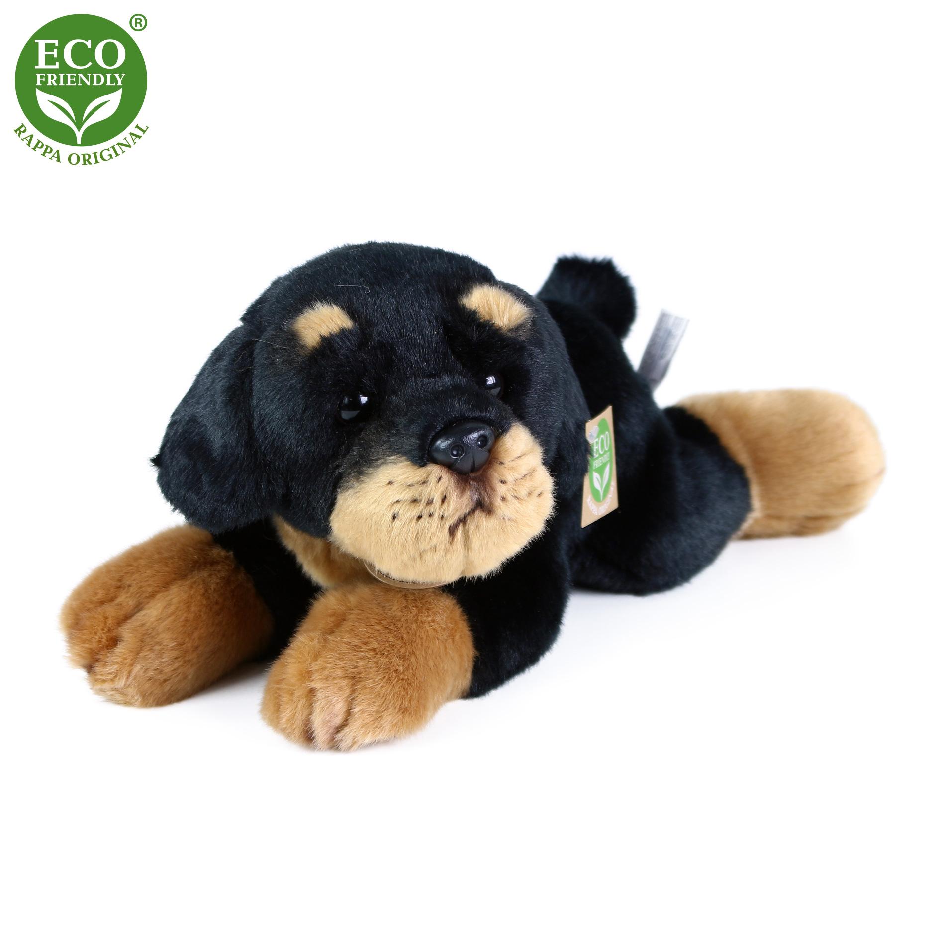 Plyšový pes rotvajler ležící 30 cm ECO-FRIENDLY