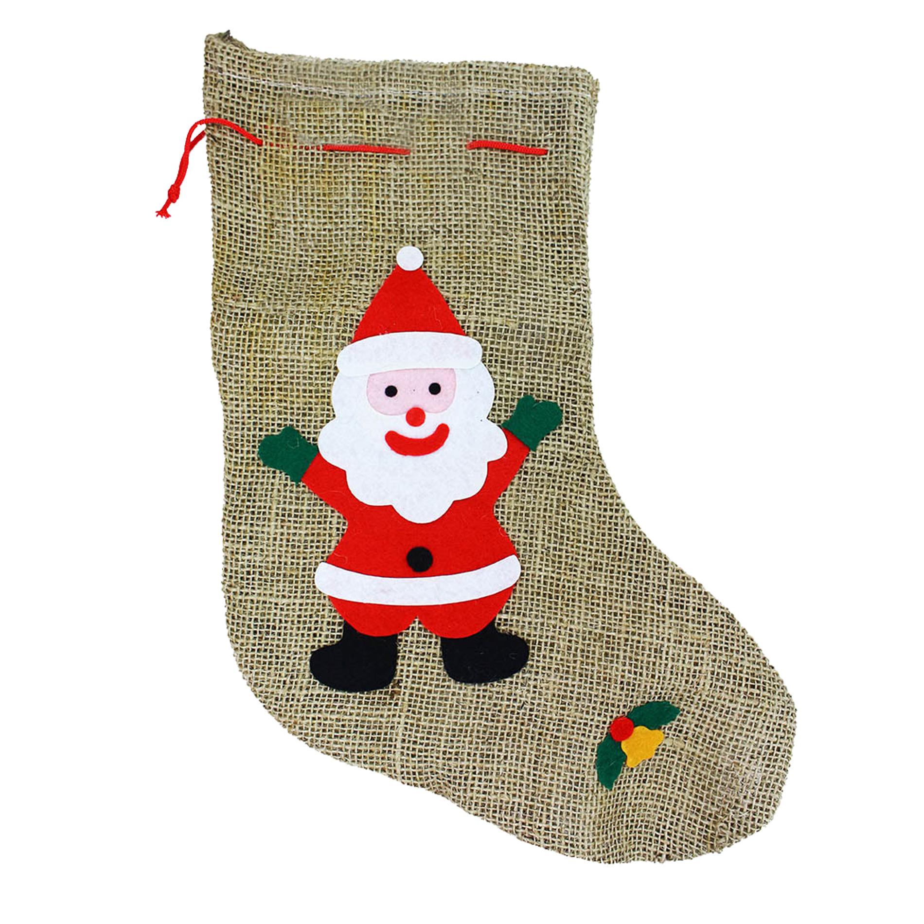 Punčocha Santa Claus / Mikulášská režná s dekorem