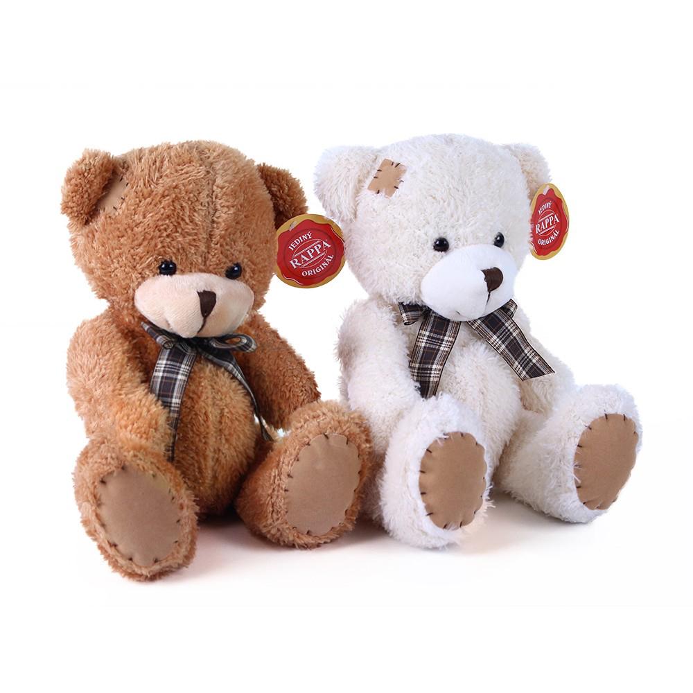 Plyšový medvěd s mašlí a záplatou 27 cm 2 barvy