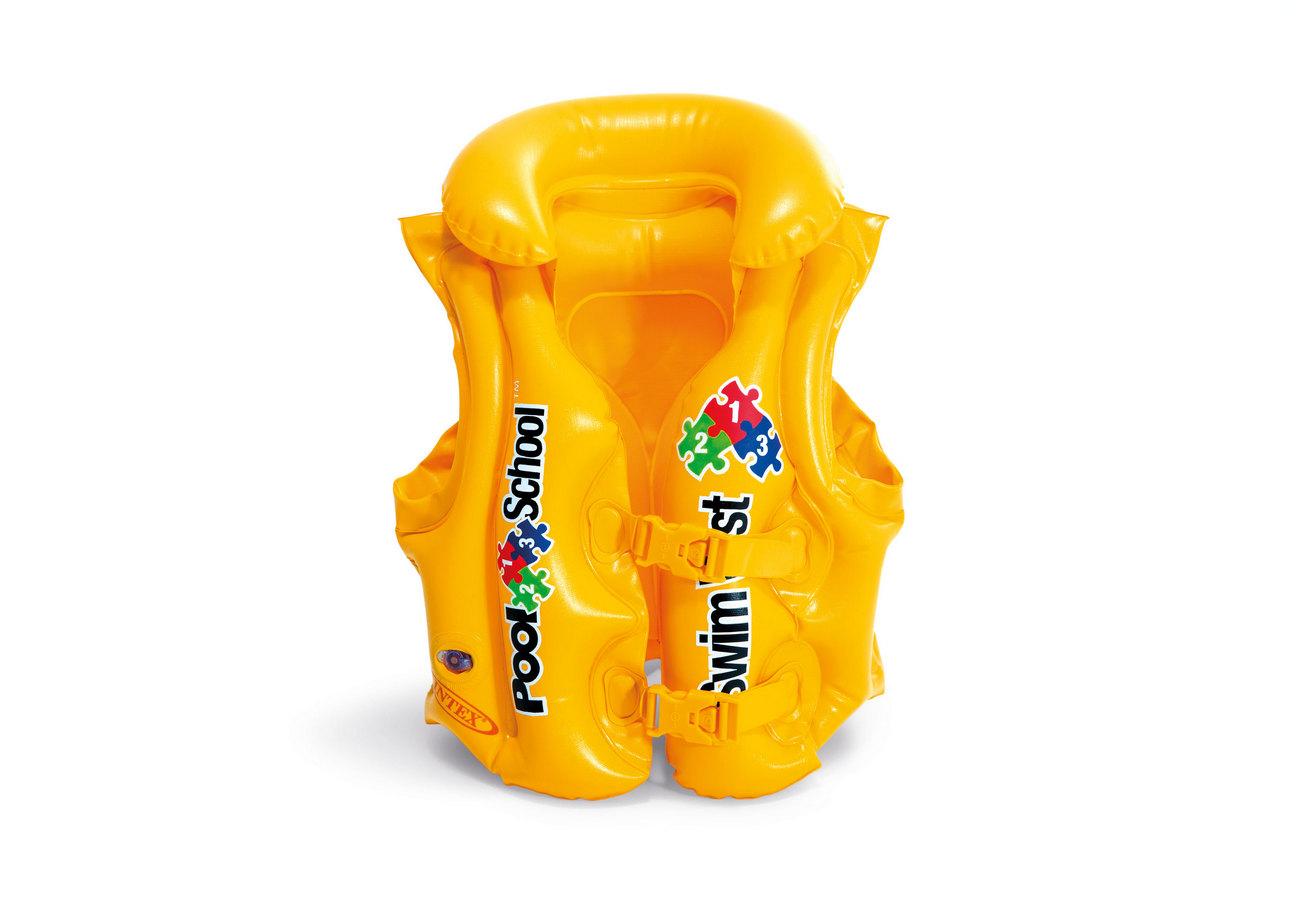 Nafukovací vesta plovací POOL SCHOOL DELUXE žlutá 3-6 let