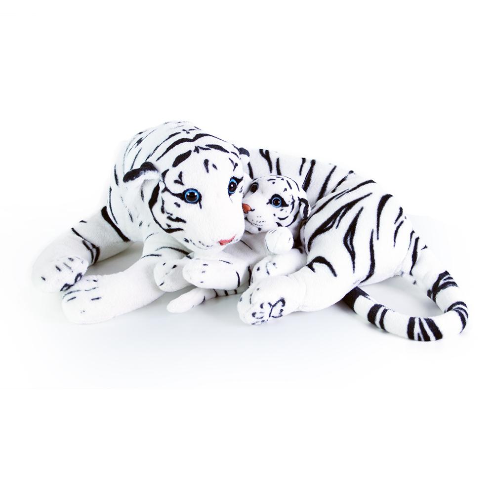 Velký plyšový tygr bílý ležící s mládětem 40 cm