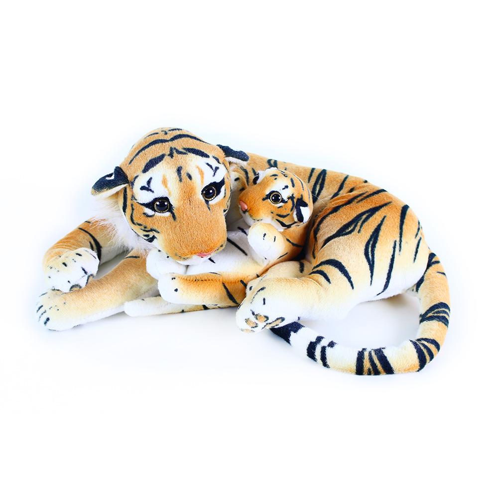Velký plyšový tygr ležící s mládětem 40 cm