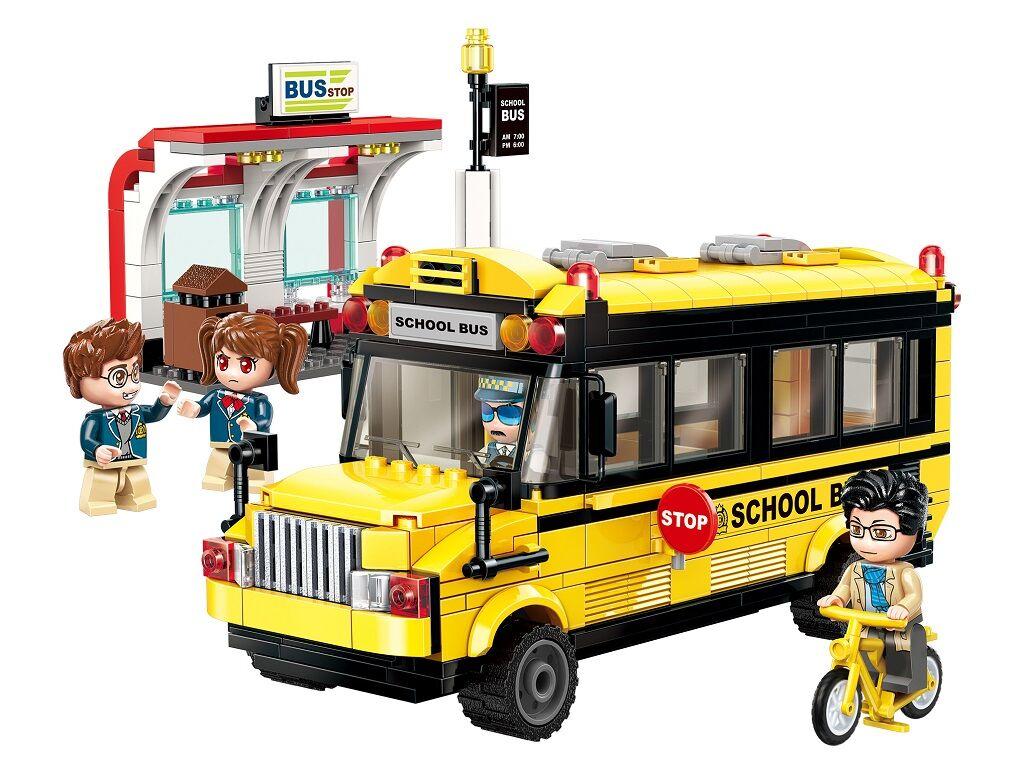 Stavebnice Qman Colorful City 1136 Školní autobus se zastávkou