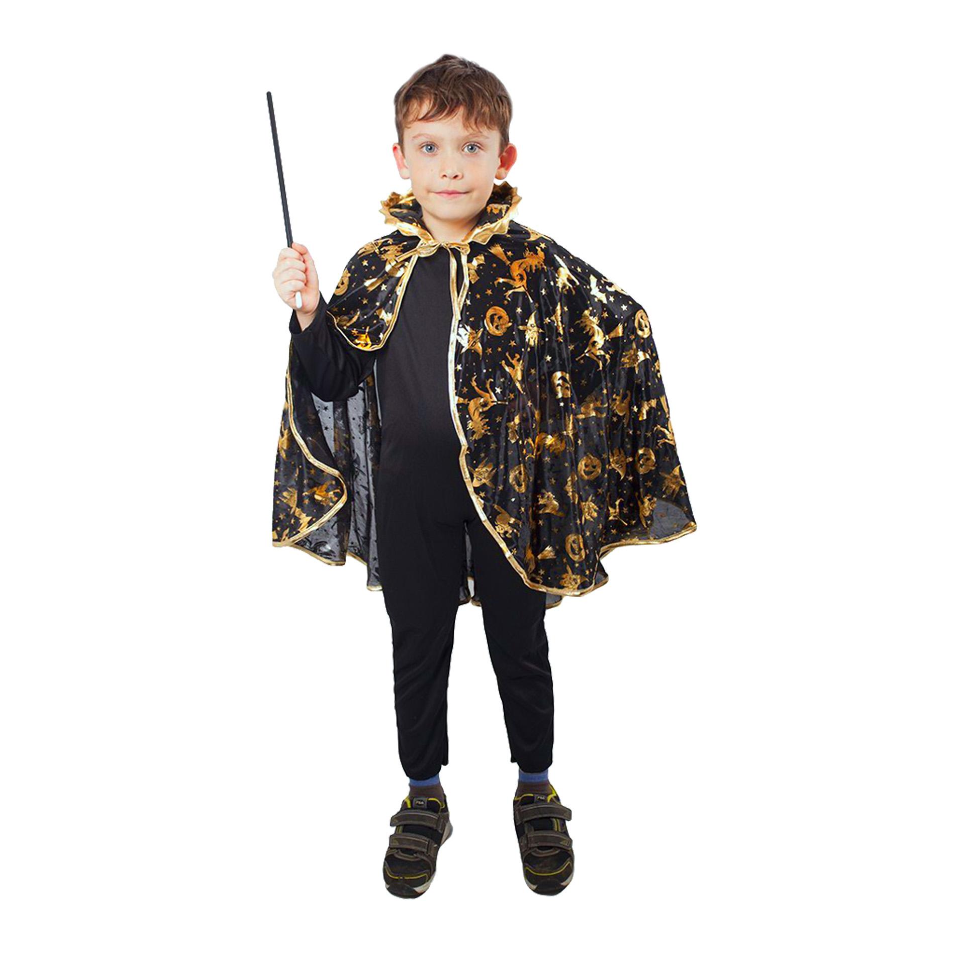 Dětský plášť Čaroděj černý čarodějnice / Halloween