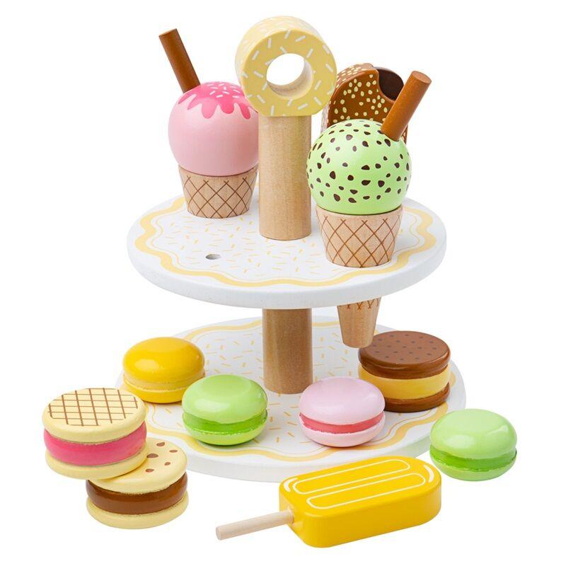 Bigjigs Toys Dřevěný stojan se sladkými dobrotami
