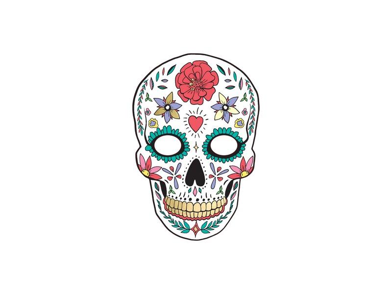 Maska Lebka s ornamenty čarodějnice/Halloween
