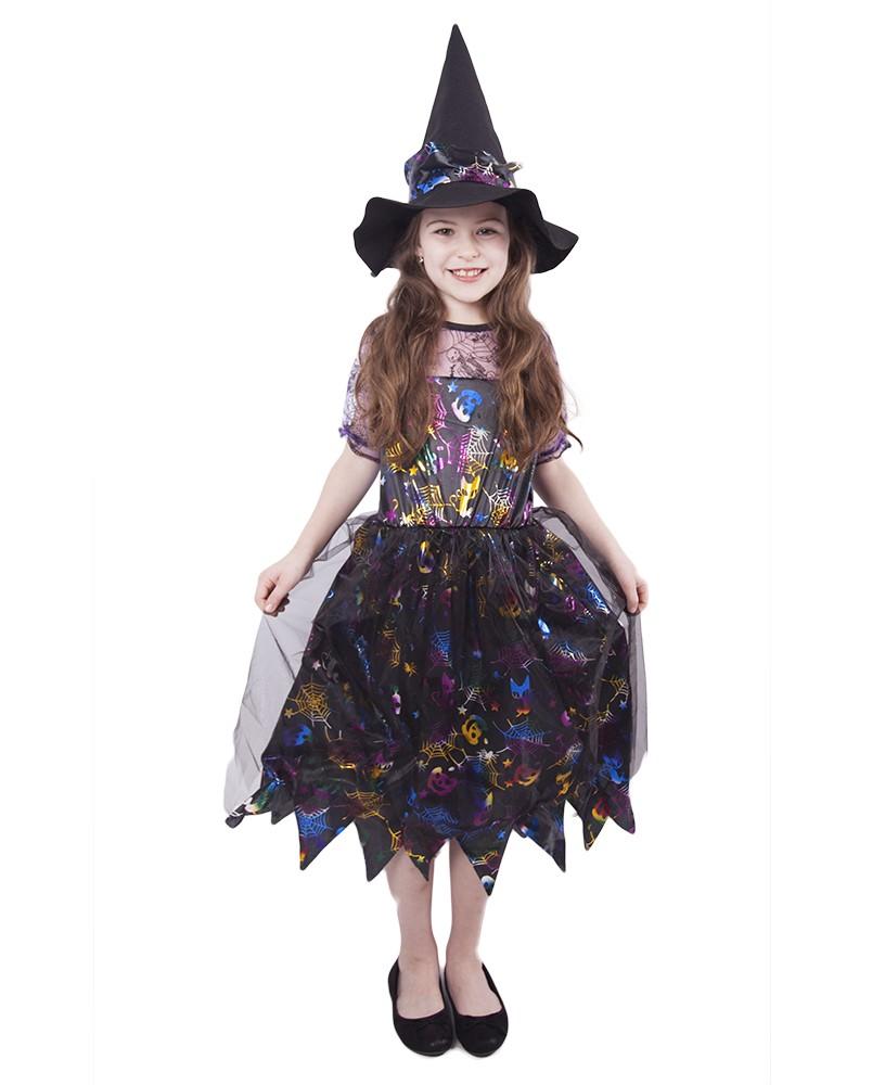 Dětský kostým čarodějnice barevná/Halloween (S)