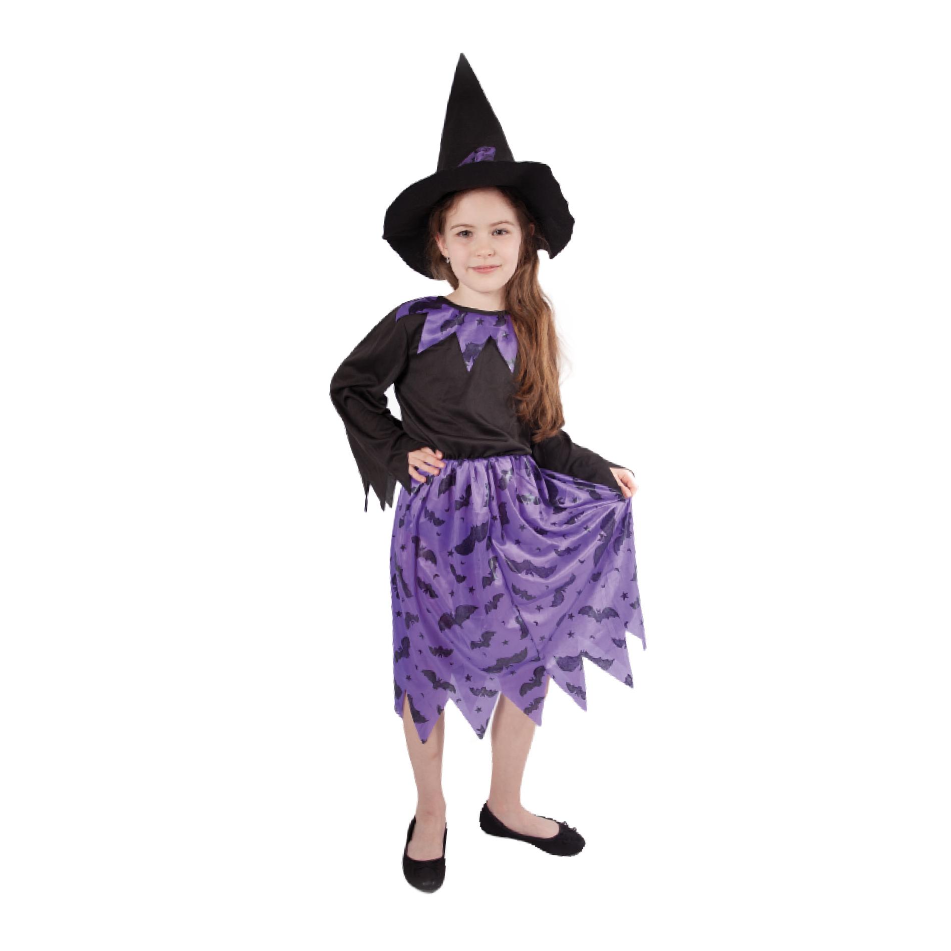 Dětský kostým čarodějnice s netopýry a kloboukem/Halloween (M)