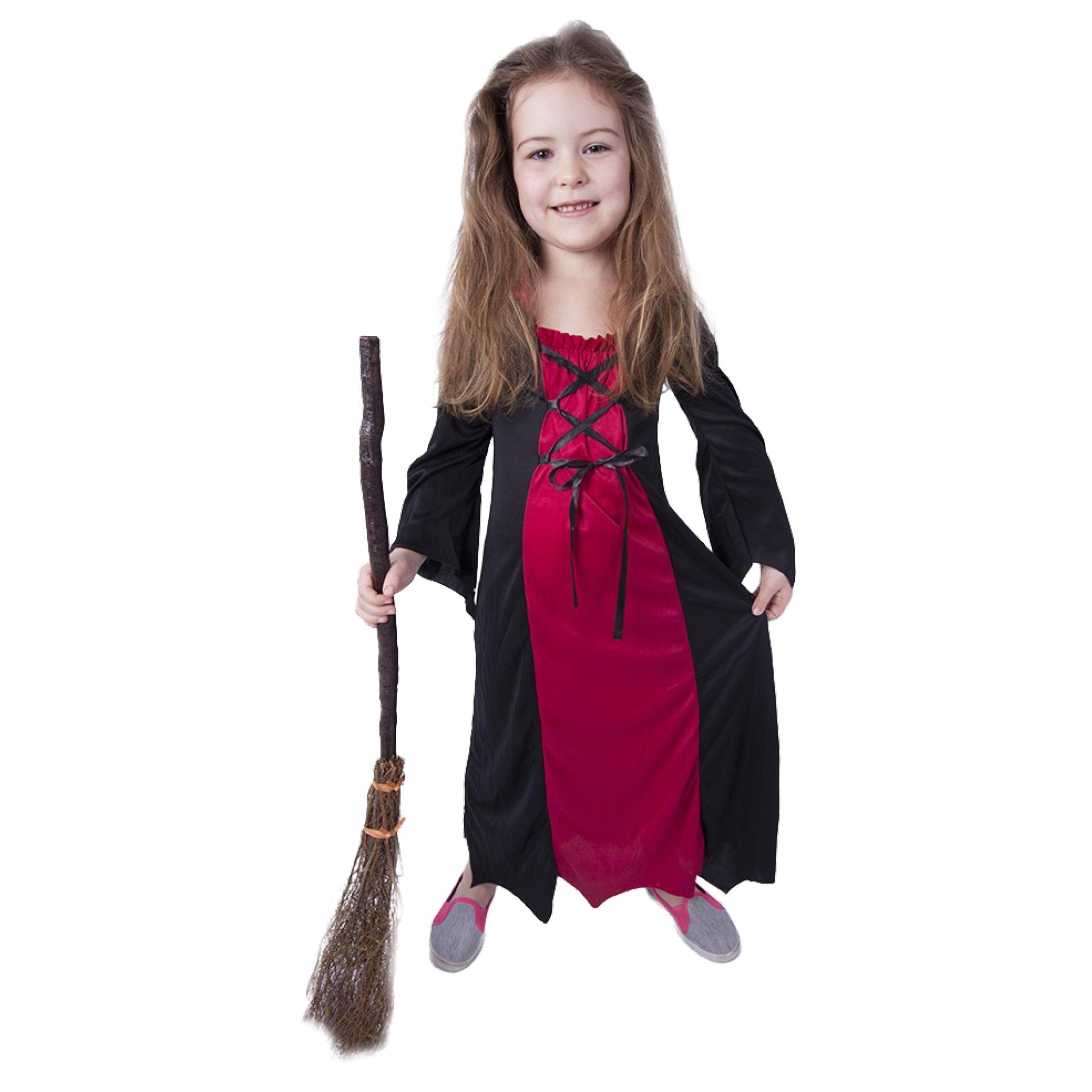 Dětský kostým bordó čarodějnice/Halloween (S)