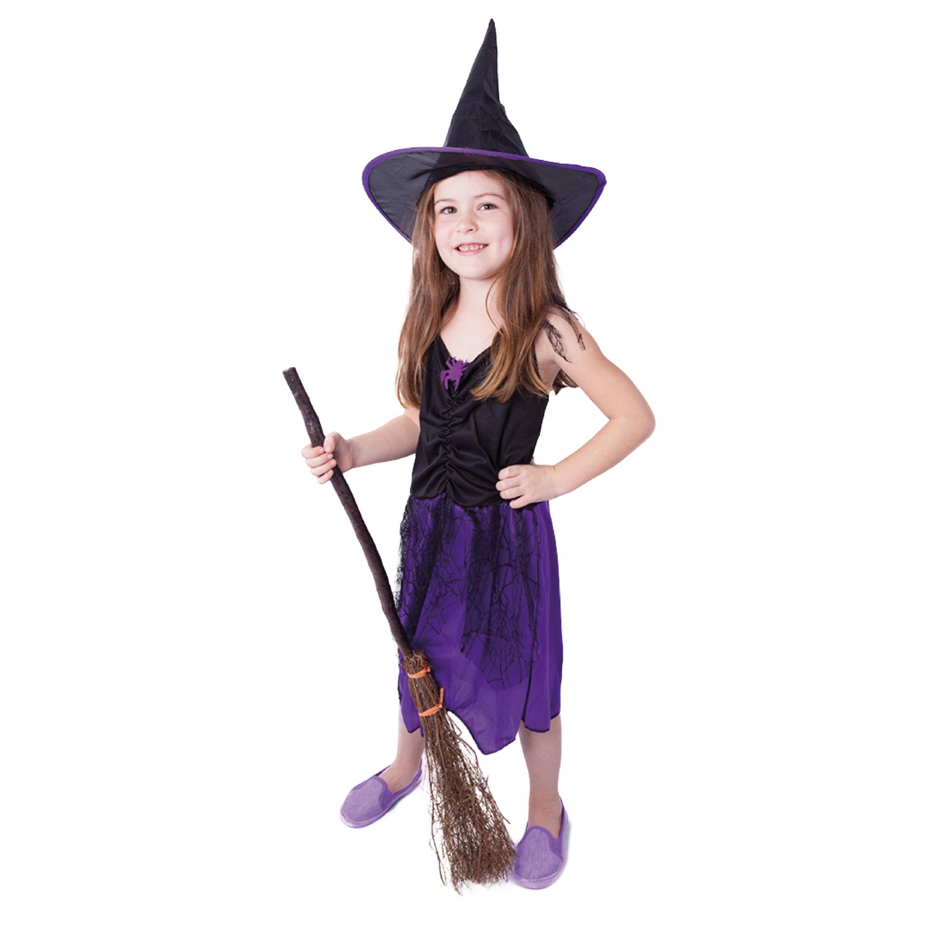 Dětský kostým fialový s kloboukem čarodějnice/Halloween (S)