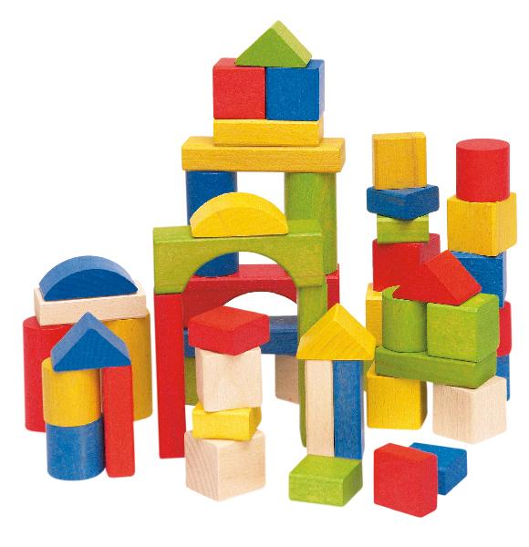 Stavebnice kostky barevné v kartonu