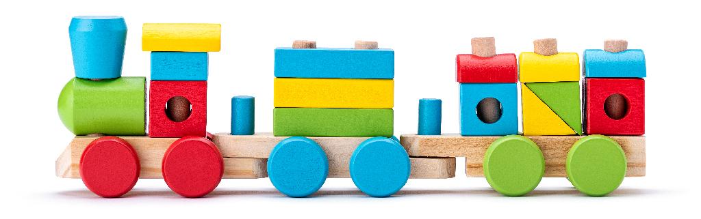 Dřevěný skládací nákladní vlak - 2 vagony