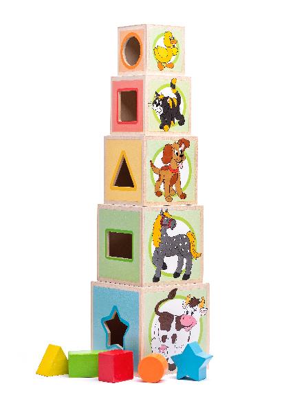 Věž z 5ti kostek Zvířátka