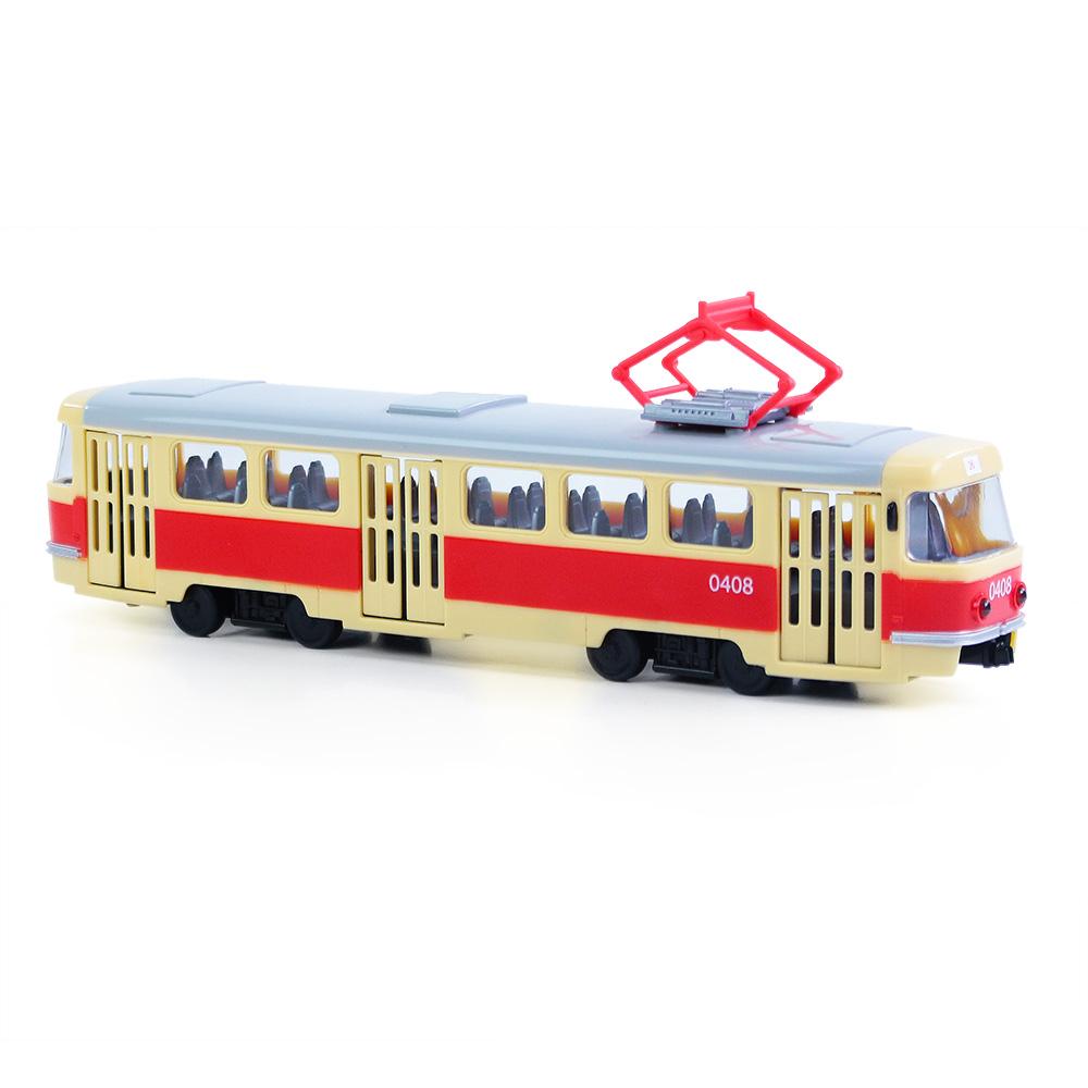 unikátní tramvaj plastová s funkčními dveřmi 28 cm