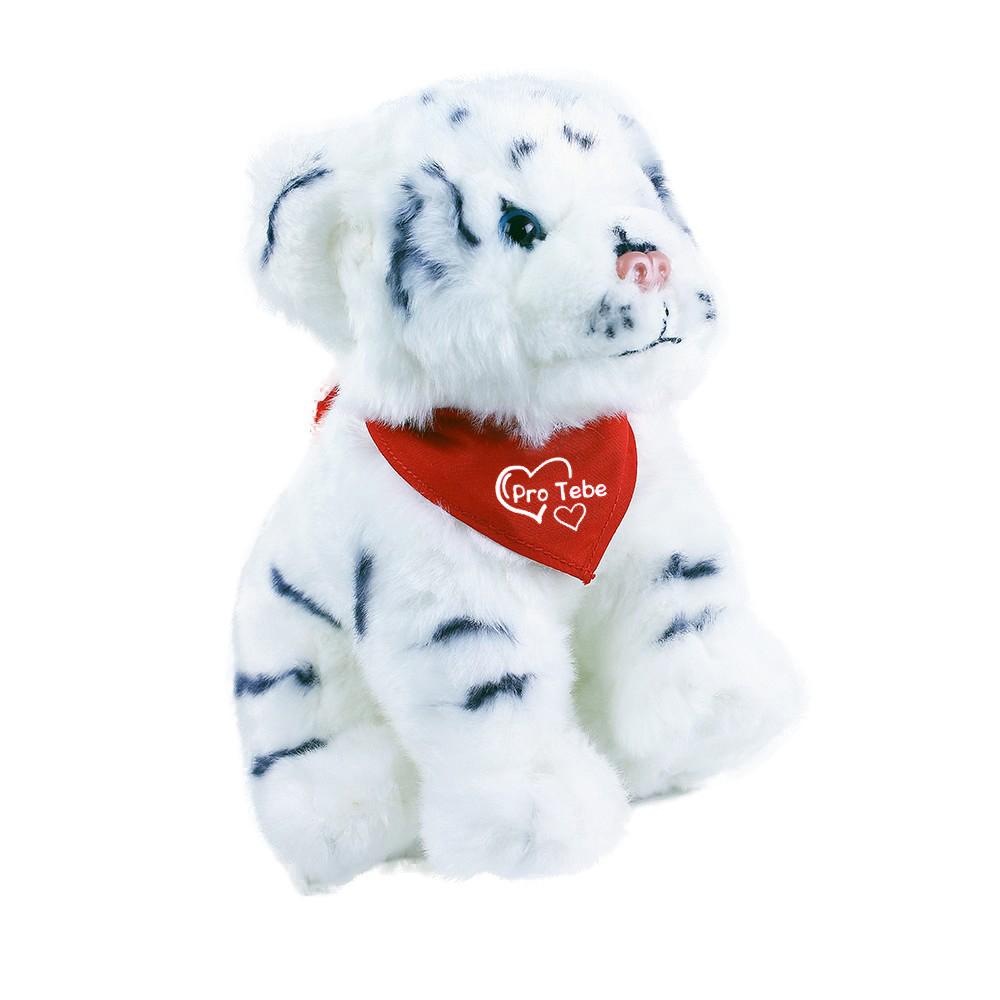 plyšový tygr bílý 20 cm se šátkem