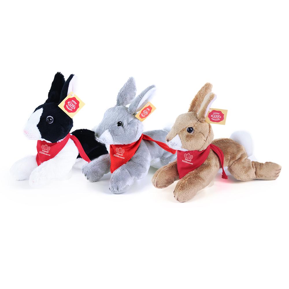 Plyšový králík se šátkem velikonoční motiv 3 druhy 18 cm