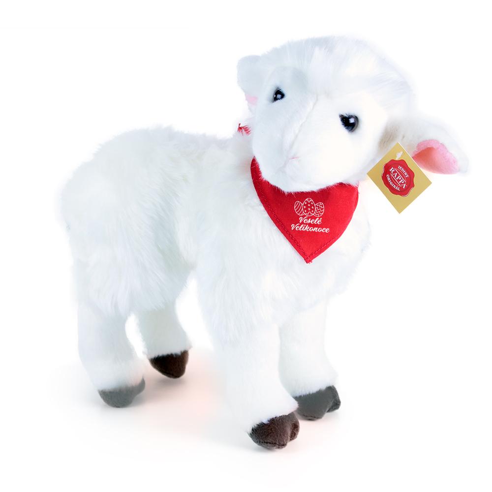 Plyšová ovce se šátkem velikonoční motiv 34 cm