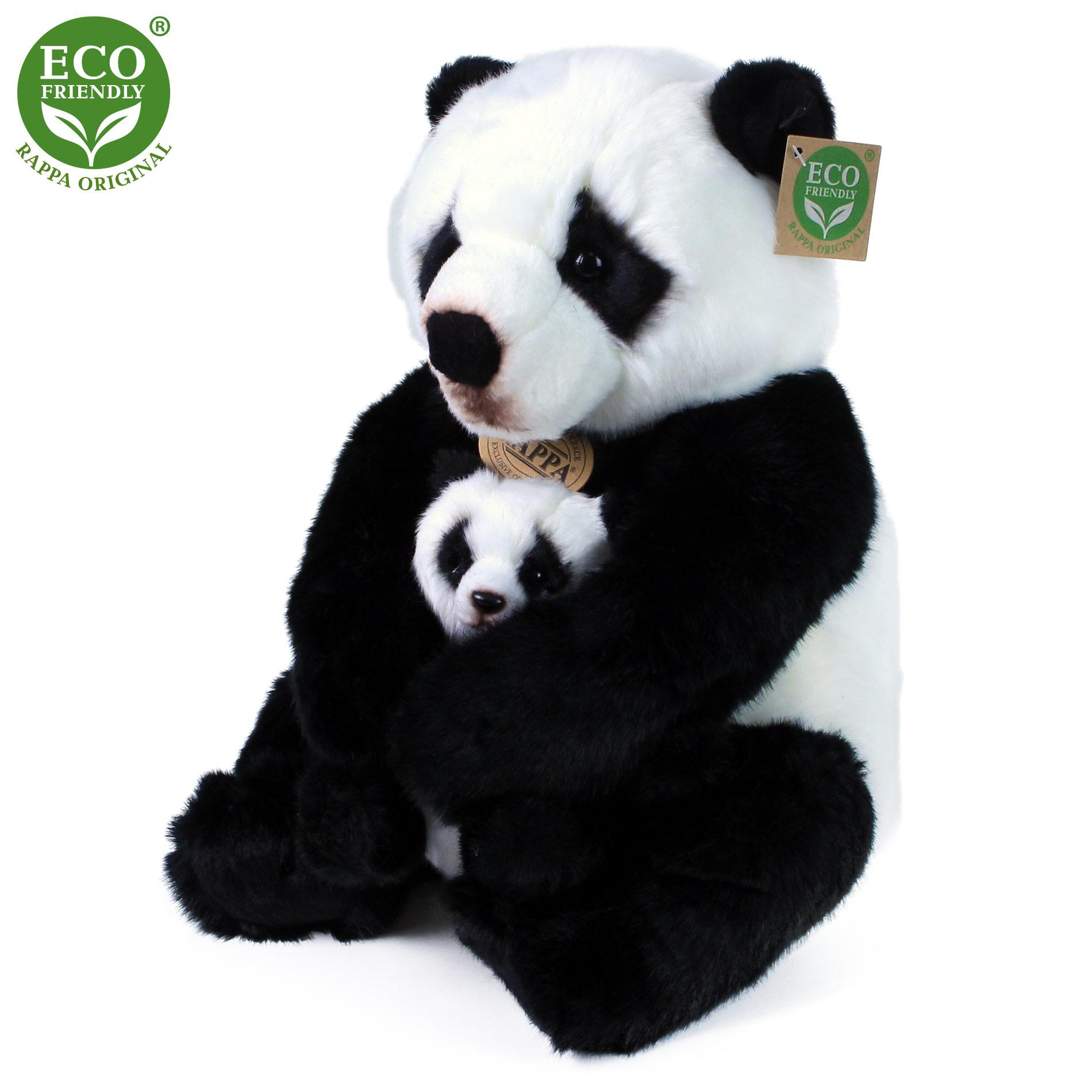 plyšová panda s mládětem, 27 cm